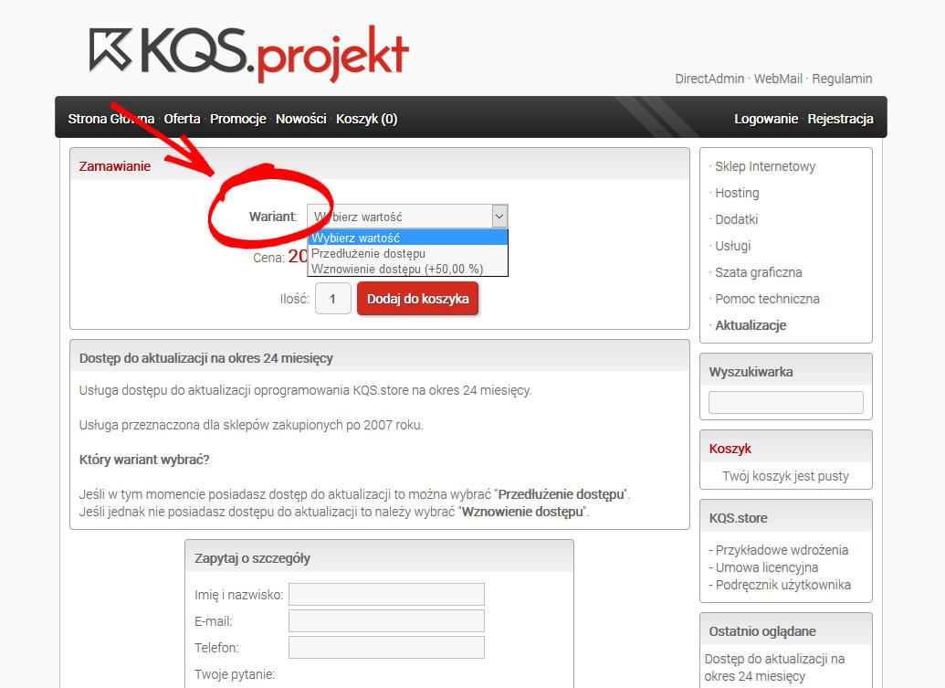 przedłużenie dostępu aktualizacji kqs