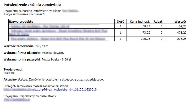 komunikat e-mail po złożeniu zamówienia