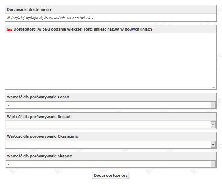 dodawanie dostępności produktu w kqs.store