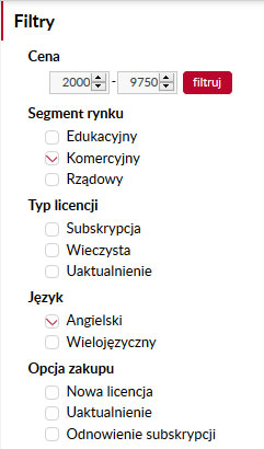 filtrowanie kategorii