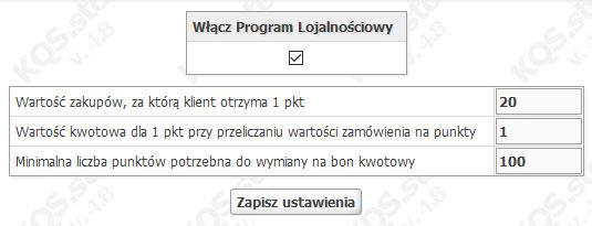 program lojalnościowy oprogramowanie sklepu kqs