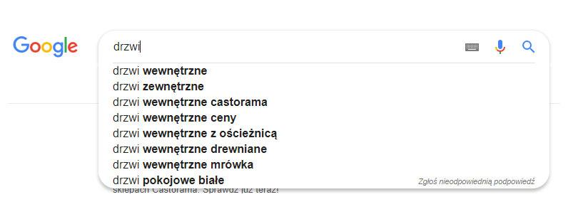 podpowiedzi słów google